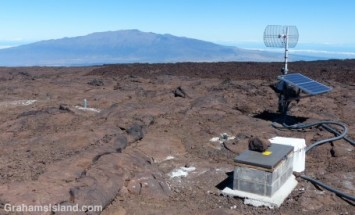 Seismic instruments are scattered around the summit of Mauna Loa.