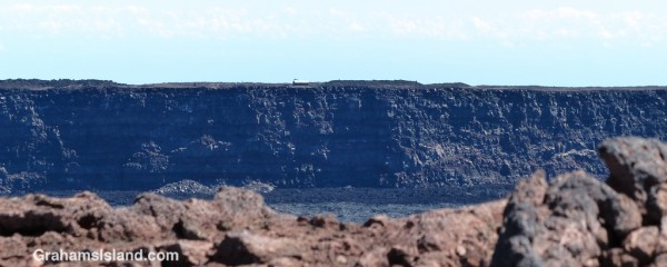 Mauna Loa cabin can be seen across the crater.