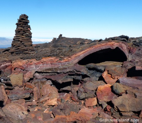 The collapsed lava tube is full of colorful rock.
