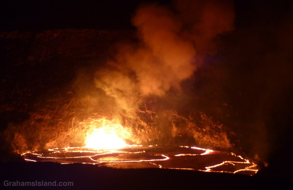 The lava lake in the Overlook vent at Halema'uma'u Crater.