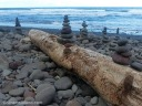 Small rock cairns on Pololu beach.