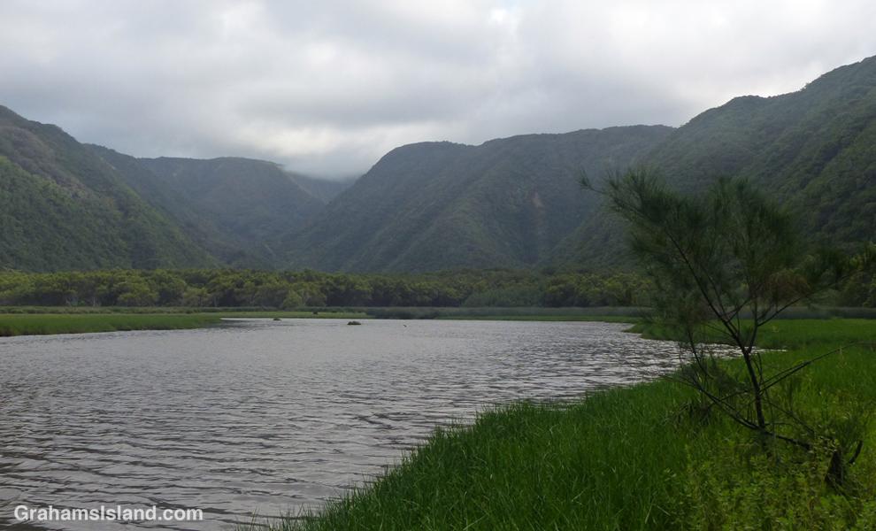 The Pololu River and view toward the Kohala Mountains.
