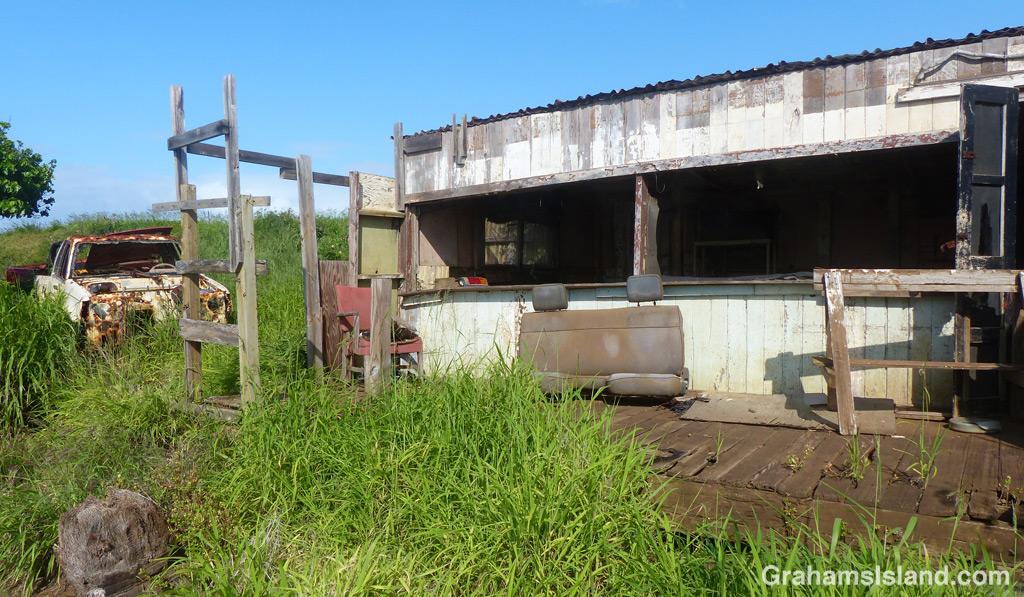 A run down shack sits on the coast of North Kohala.