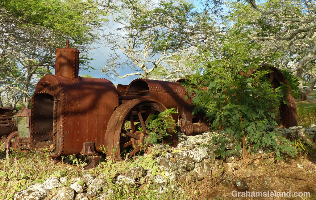 An old engine sits in an open area on the Big Island.