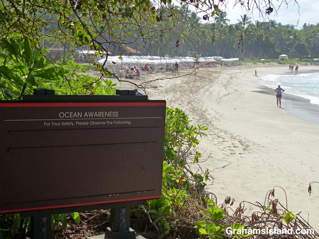 Ocean awareness sign at a South Kohala coast resort