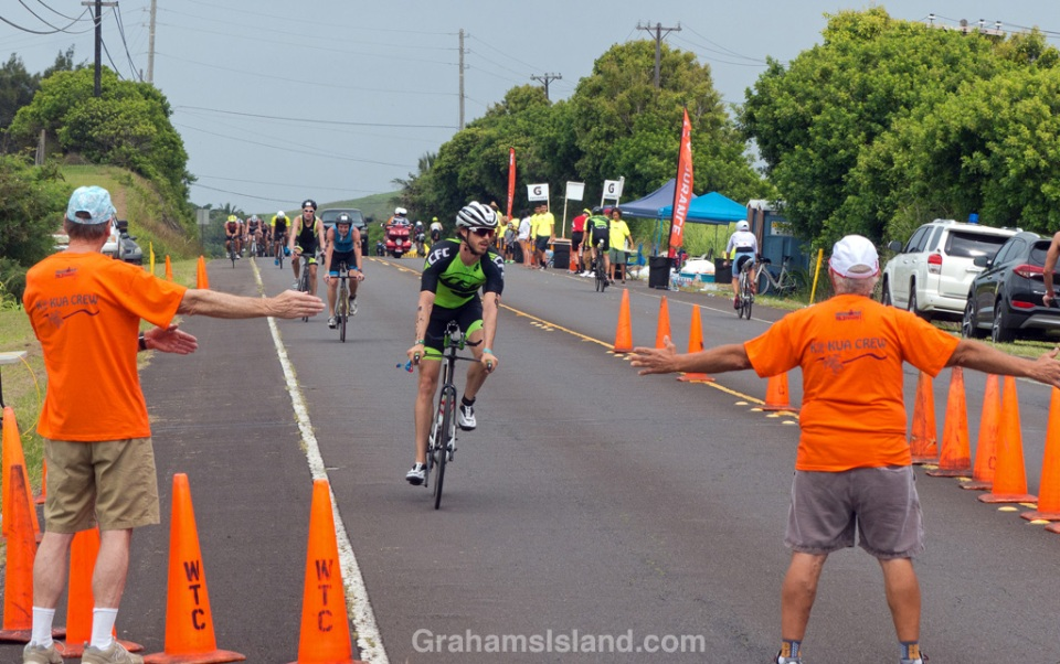 The turn at Hawi in the IRONMAN 70.3 Hawaii race on the Big Island.