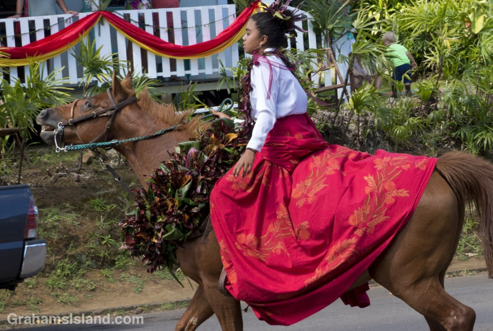 A rider in the Kamehameha Day parade in North Kohala.