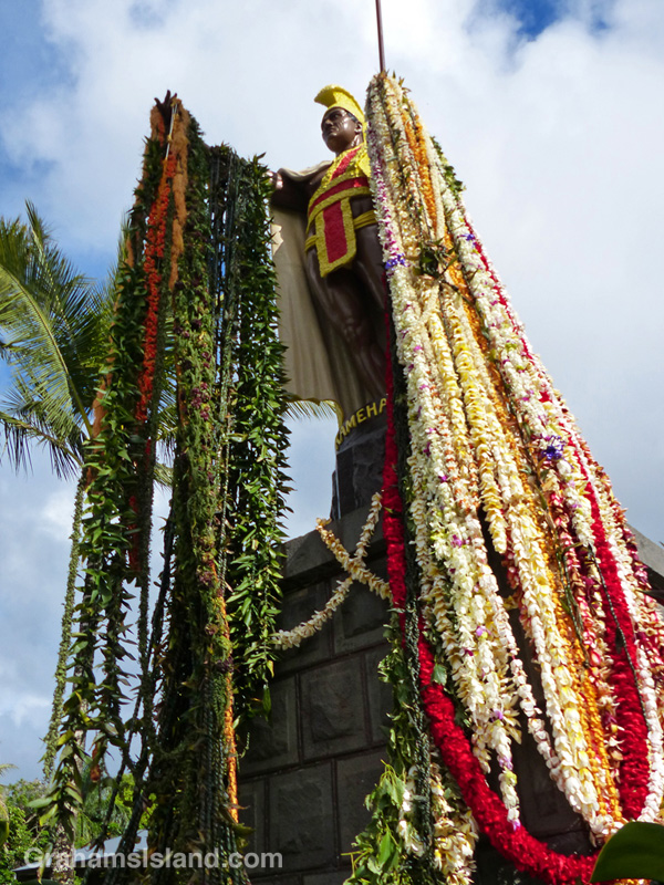 King Kamehameha's statue in Kapaau, is draped in leis on Kamehameha Day.