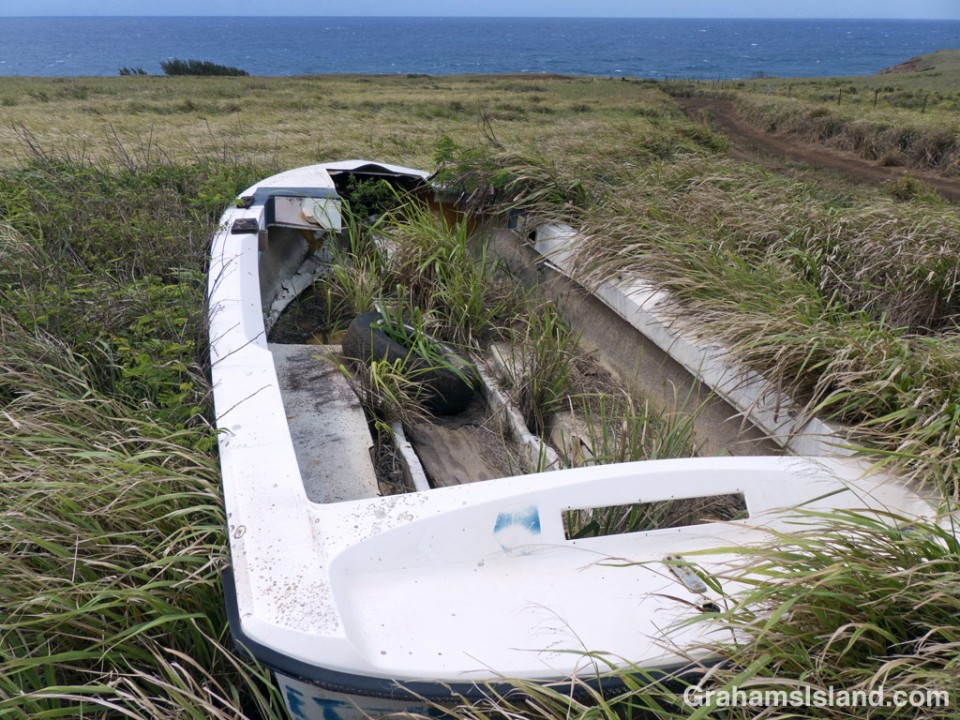 An old boat rests in the grass near the ocean.