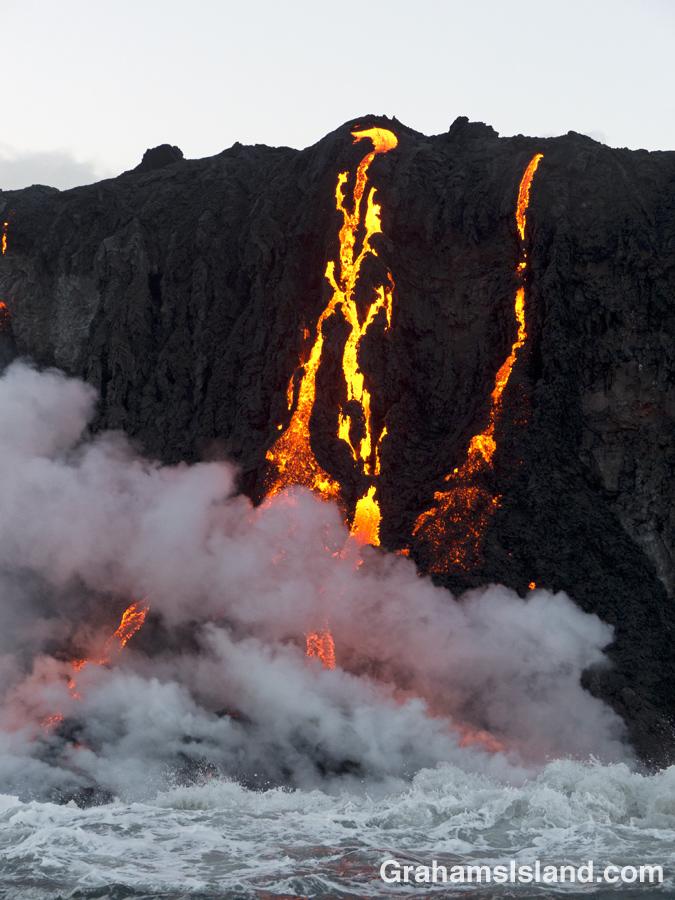 Kilauea lava pours into the ocean