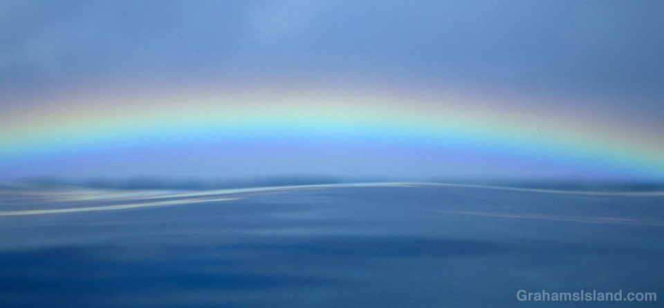 A low rainbow seen over a tranquil sea.