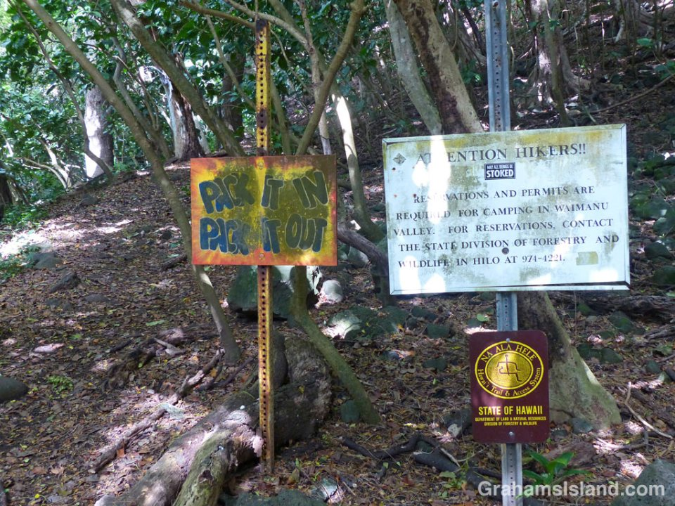 Words of wisdom and instructions for hikers at the start of the Muliwai Trail in Waipi'o Valley.