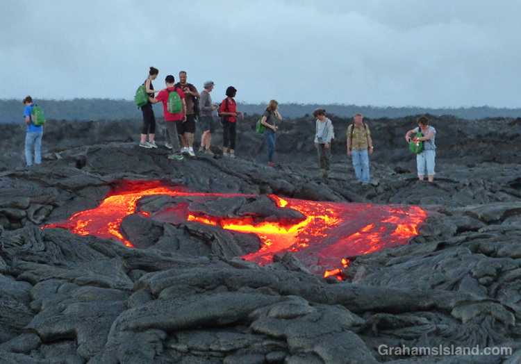 A lava breakout from the Kilauea lava flow.