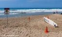 A high surf sign at Hapuna beach