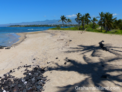 A sandy beach at the south end of A Bay.