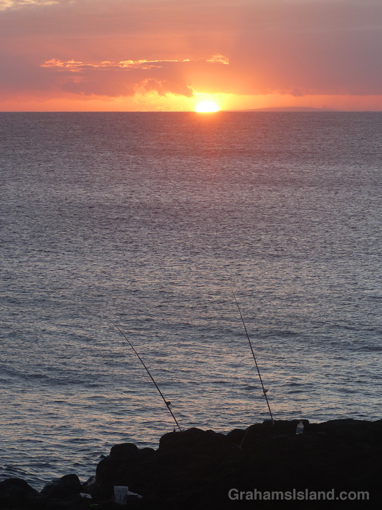 Fishing at sunset on the Big Island