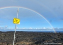 A rainbow over the lava field in Hawaii Volcanoes National Park.