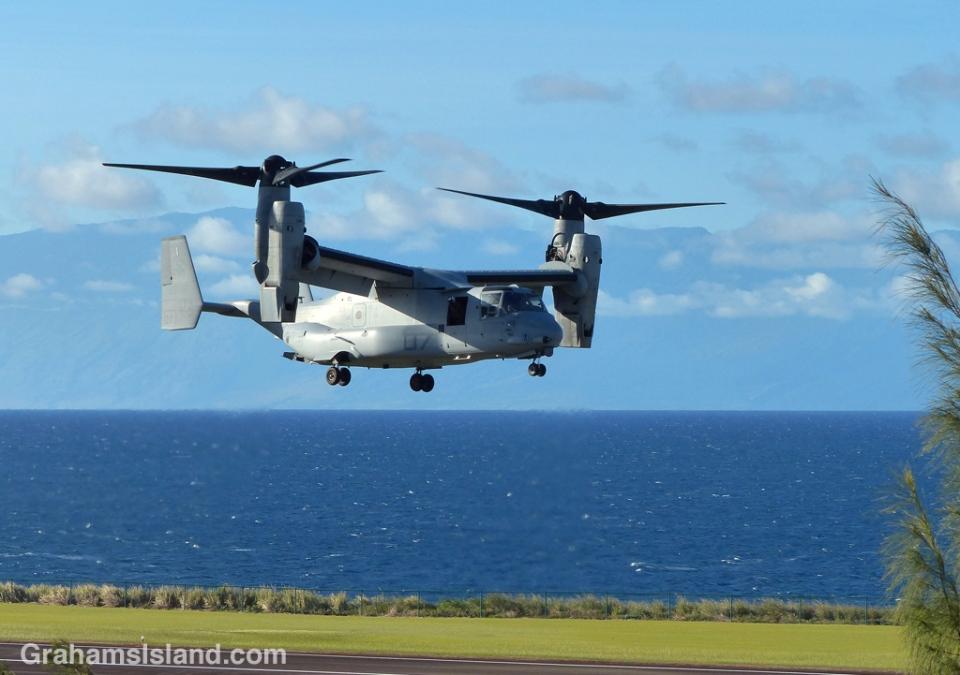 A V-22 Osprey lands at Upolu Airport.