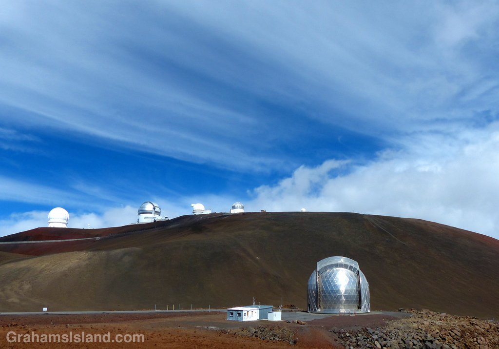 The CalTech Submillimeter Telescope is one of 13 currently operating on Mauna Kea.