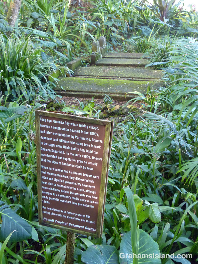The old gravesite at Hawaii Tropical Botanical Garden on the Big Island.