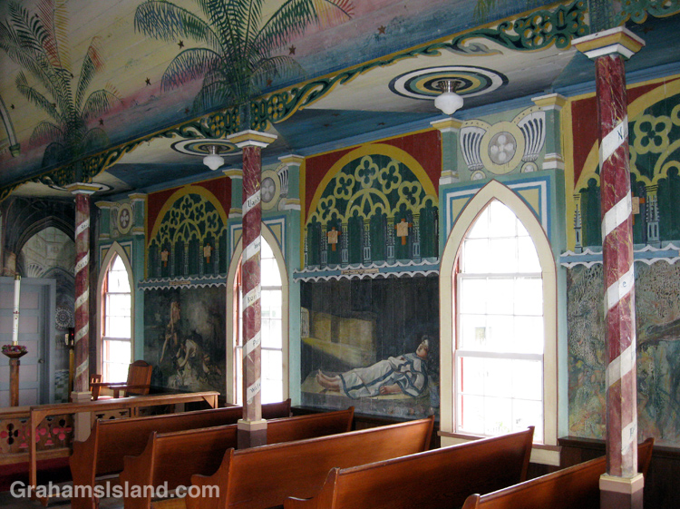 Bible scenes on the walls of the Painted Church at Honaunau