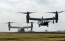 Two V-22 Osprey aircraft land at Upolu Airport on the Big Island.
