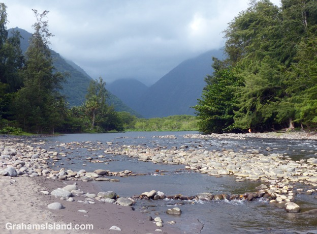 A view of Waipi'o Valley taken from the mouth of the river