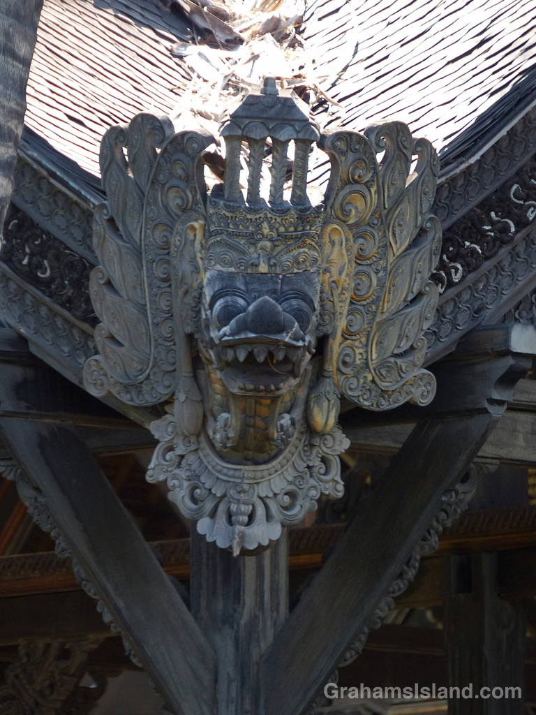 A carving on the Bali House at Kiholo Bay on the Big Island of Hawaii.