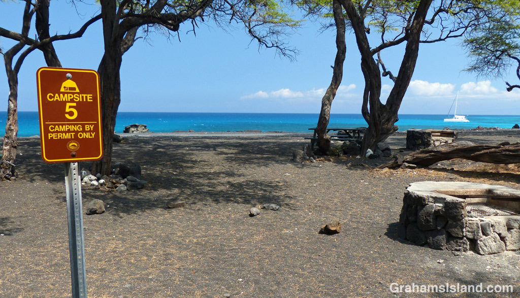 One of the ocean-side campsites at Kiholo Bay on the Big Island of Hawaii