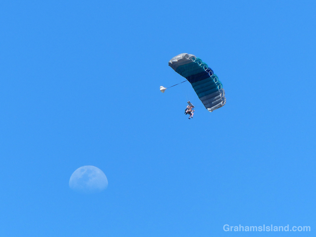 These skydivers appear to be leaving the moon.
