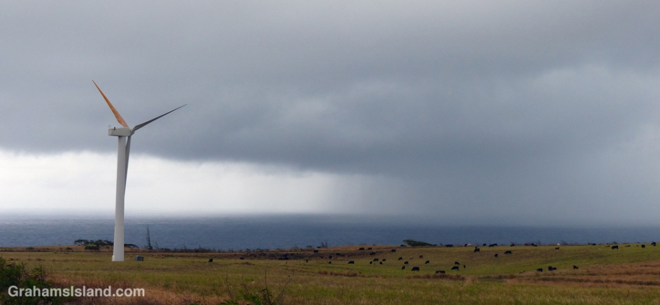 Heavy rain in the Alenuihaha Channel, between Maui and the Big Island, rumbles towards shore.