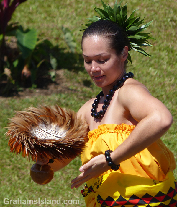 A hula dancer performs on Kamehameha Day in Kapaau.
