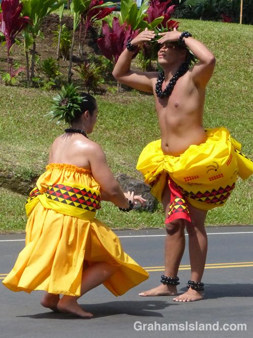Hula dancers performs on Kamehameha Day in Kapaau.