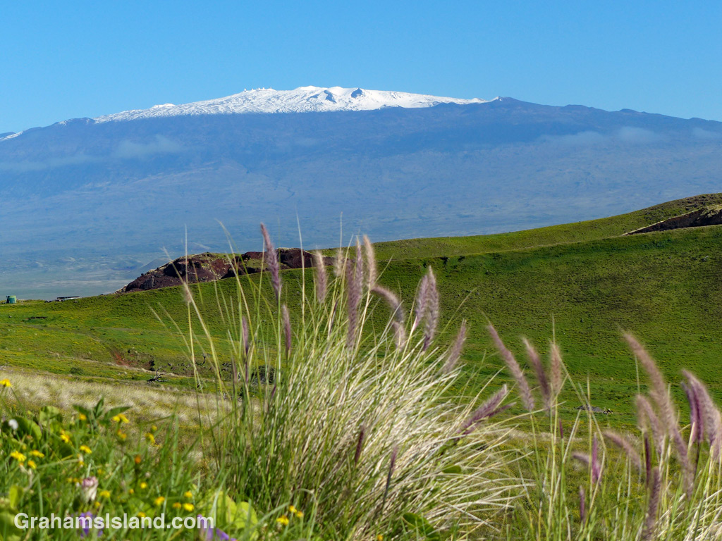 Snow covers the summit of Mauna Kea