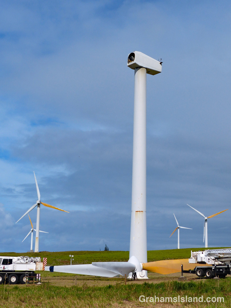 A wind turbine at Hawi Wind Farm undergoes repair