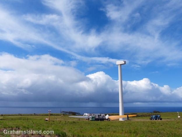 A wind turbine at Hawi Wind Farm undergoes repair