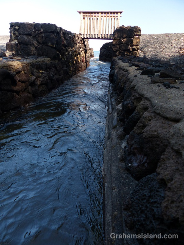 This channel connects Kiholo fish pond and the ocean