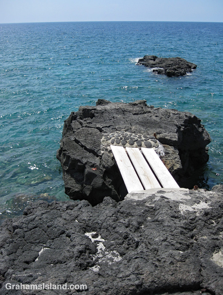 A bridge lead to an entry point for swimmers at Milolii