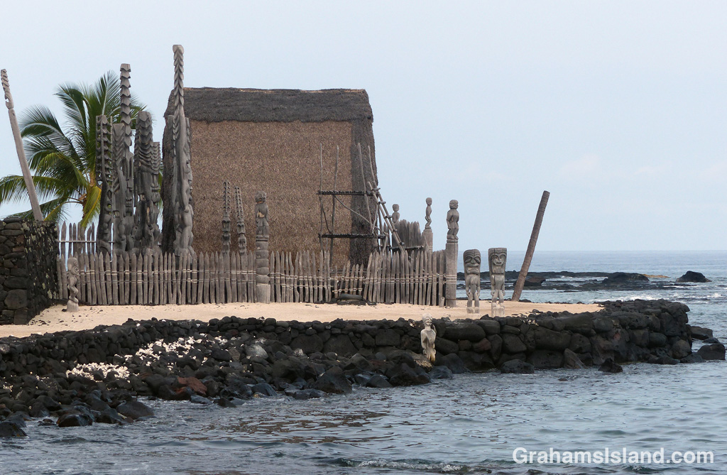 Hale o Keawe at Pu'uhonua o Hōnaunau National Historical Park.