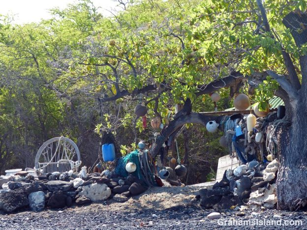 A collection of items washed ashore at Kiholo on the Big Island of Hawaii