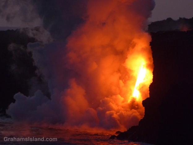 Lava from Kilauea's Pu'u O'o vent pours into the ocean.