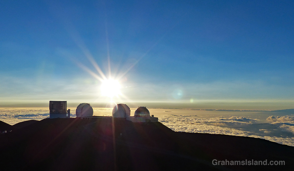 Mauna Kea telescopes as sunset nears.