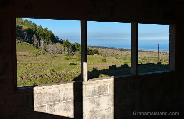 A view from the window of an old building on the Pu'u Wa'awa'a trail.