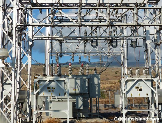 An electric substation in the late afternoon light.