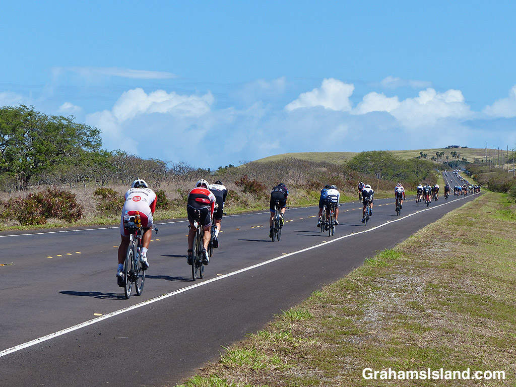 A long line of cyclists straggle up the slope toward Hawi.