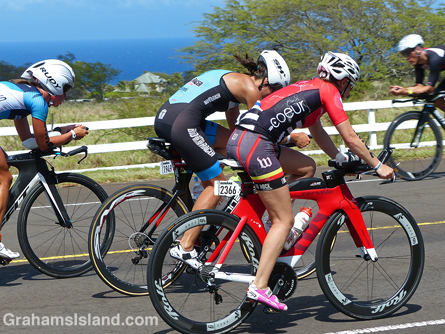 Cyclists duke it out in the Ironman World Championship.