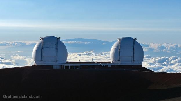 The two Keck telescopes on Mauna Kea, Hawaii.