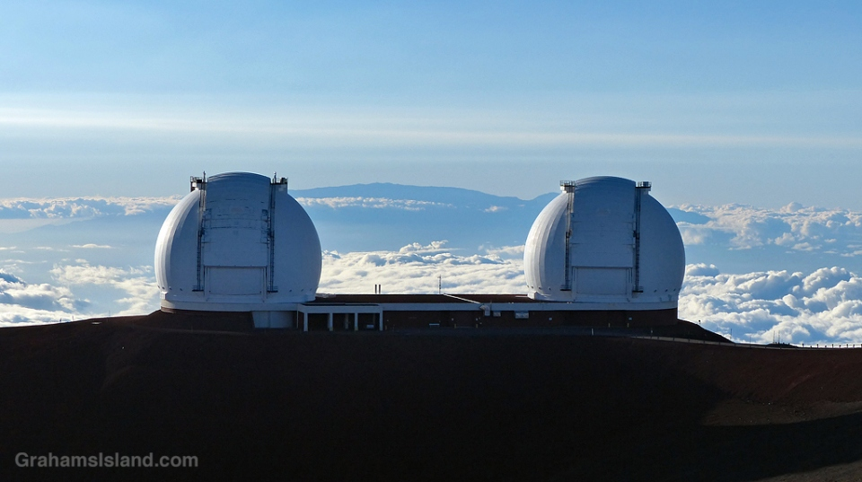 The two Keck telescopes on Mauna Kea, Hawaii.