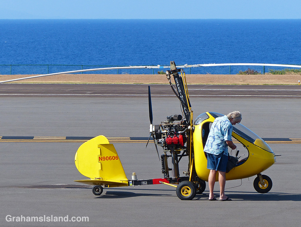 A mini-helicopter parked at Upolu Airport.