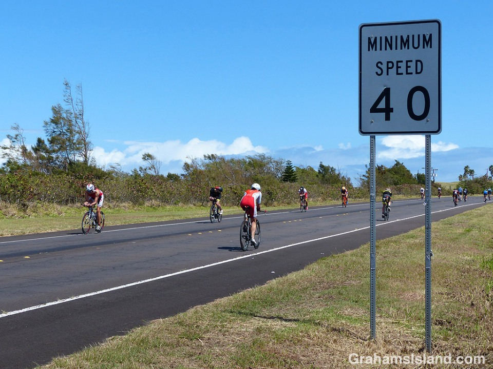 Ironman cyclists fail to obey the traffic laws on the Big Island of Hawaii